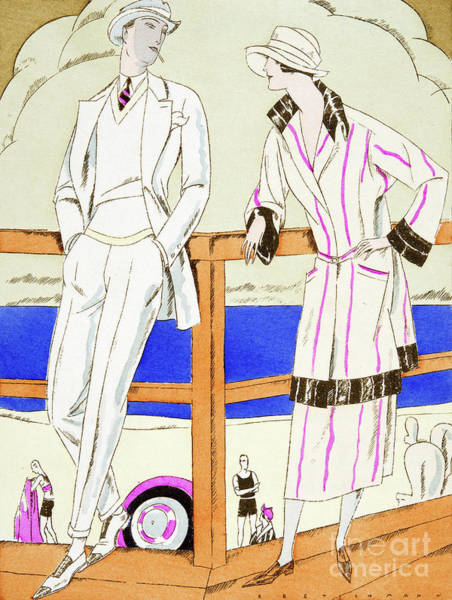 Casual Painting - Vintage Fashion Plate From The Twenties Depicting Couple At The Beach by German School