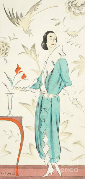 Wall Art - Drawing - Vintage Fashion Plate From The Twenties by German School