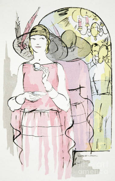 1920s Drawing - Vintage Fashion Plate   Twenties Tea Dress by German School