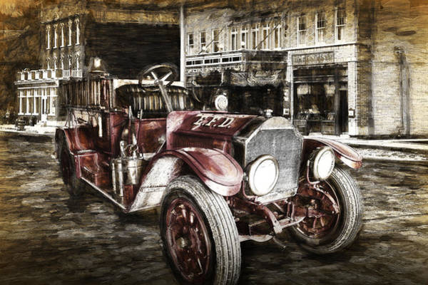Photograph - Vintage Fire Truck Engine by Randall Nyhof