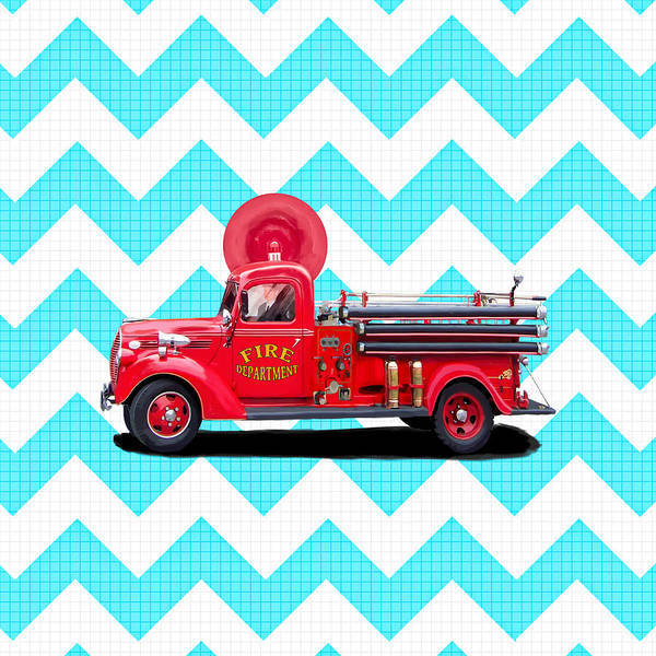 Engine Mixed Media - Vintage Fire Truck by Mark Tisdale