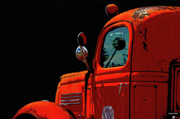 Photograph - Vintage Fire Truck Poster Art by Lesa Fine