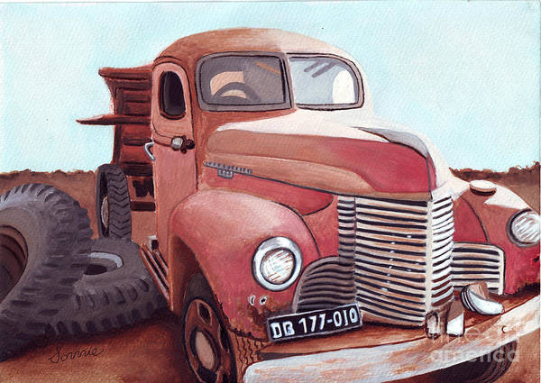 Vintage Fire Truck Painting - Vintage Fire Truck Watercolor Painting In A Local Scrapyard by Sonja Taljaard