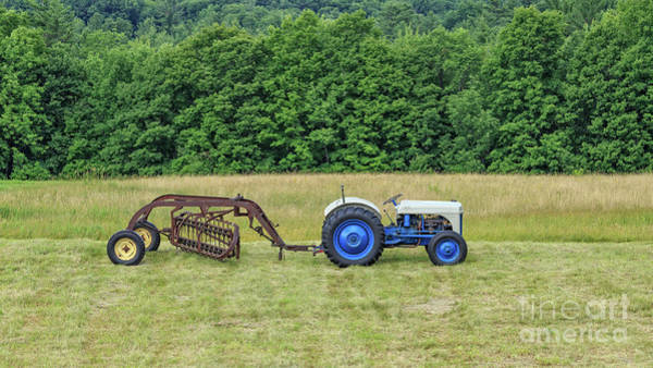 Photograph - Vintage Ford Blue And White Tractor On A Farm by Edward Fielding