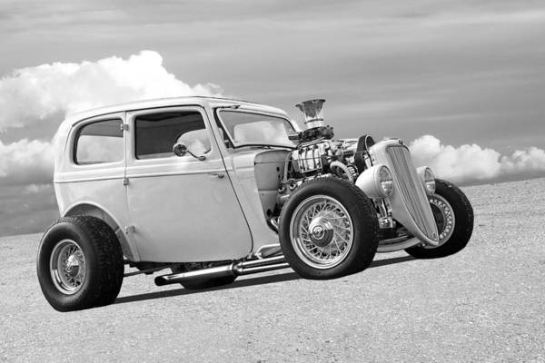 Photograph - Vintage Ford Hot Rod In Black And White by Gill Billington