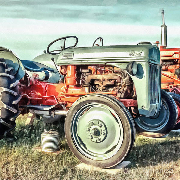 Vintage Tractor Painting - Vintage Ford Tractor Square by Edward Fielding