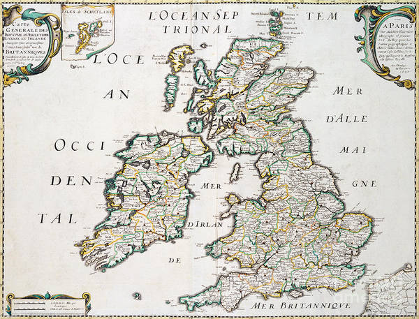 Wales Drawing - Vintage French Map Of Britain And Ireland by Nicolas Sanson D'Abbeville