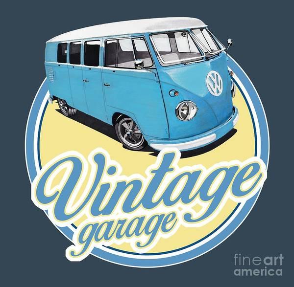 Wagon Digital Art - Vintage Garage Bus by Paul Kuras