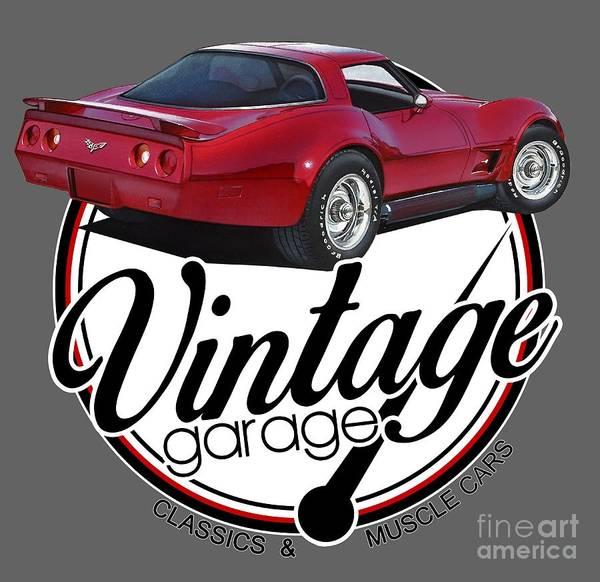 Exhaust Digital Art - Vintage Garage Corvette by Paul Kuras