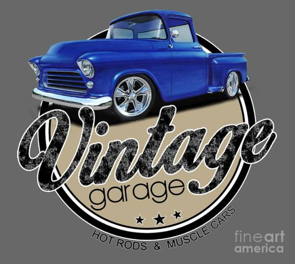 Wall Art - Digital Art - Vintage Garage Trucks by Paul Kuras