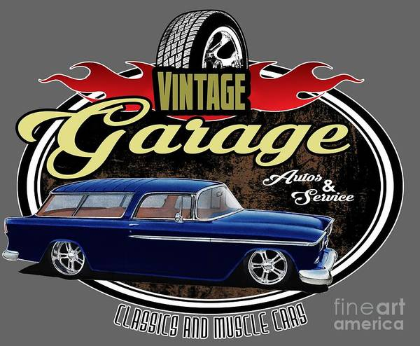 Wagon Digital Art - Vintage Garage With Nomad by Paul Kuras