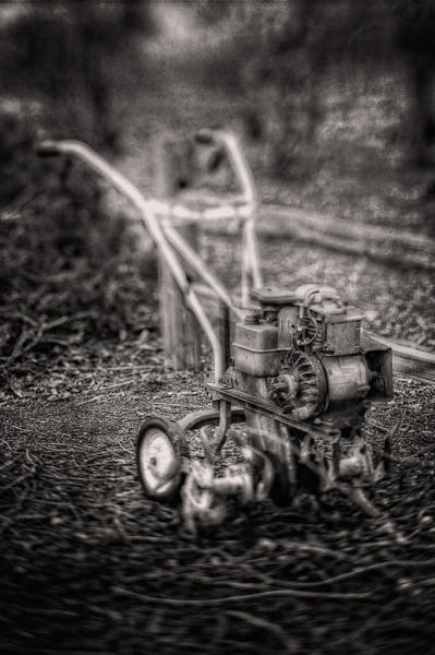 Wall Art - Photograph - Vintage Garden Rototiller Near Split Rail Fence In Black And Whi by YoPedro