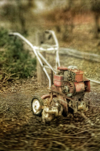 Wall Art - Photograph - Vintage Garden Rototiller Near Split Rail Fence by YoPedro
