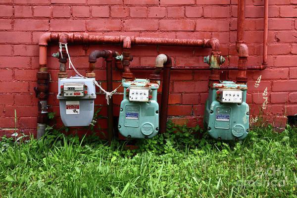 Photograph - Vintage Gas Meters by James Brunker