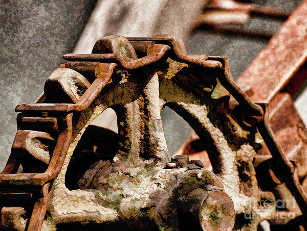 Rusty Chain Wall Art - Photograph - Vintage Gears And Chain by Wilma Birdwell
