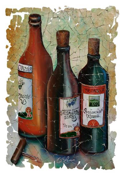 Digital Art - Vintage Georgian Wine Fresco by OLena Art Brand