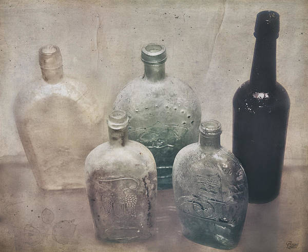 Photograph - Vintage Glass Bottles by Anna Louise