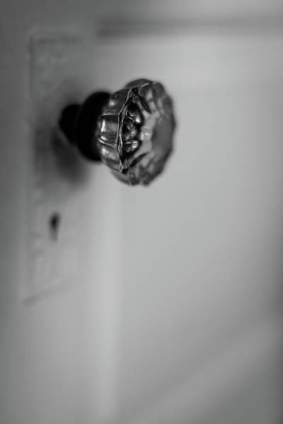 Wall Art - Photograph - Vintage Glass Door Knob Black And White by Terry DeLuco