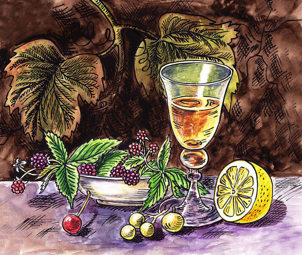 Wall Art - Painting - Vintage Glass With Lemon And Berries by Irina Sztukowski