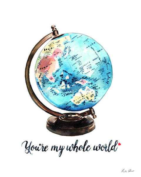 Wedding Gift Wall Art - Painting - Vintage Globe Love You're My Whole World by Laura Row