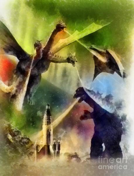 Wall Art - Painting - Vintage Godzilla by John Springfield