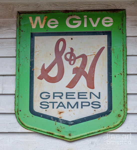 Photograph - Vintage Green Stamps Metal Sign by Dale Powell