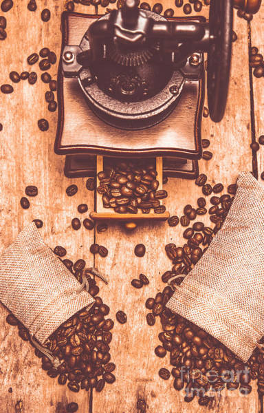 Indoor Photograph - Vintage Grinder With Sacks Of Coffee Beans by Jorgo Photography - Wall Art Gallery