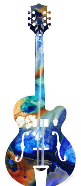 Art For Sale Online Painting - Vintage Guitar - Colorful Abstract Musical Instrument by Sharon Cummings