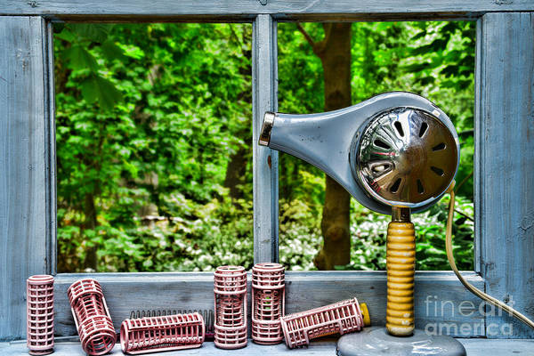 Wall Art - Photograph - Vintage Hair Dryer And Curlers On Window Sill by Paul Ward