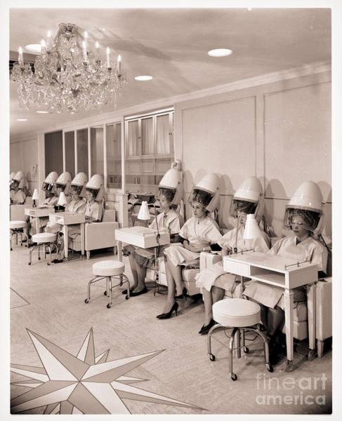 Beauty Salon Painting - Vintage Hair Salon Ladies Hairdryers by Mindy Sommers