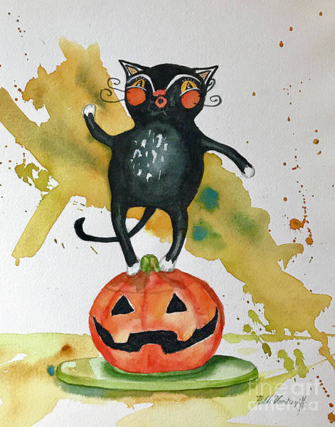 Painting - Vintage Halloween Cat by Hilda Vandergriff