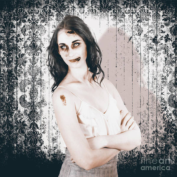 Undead Wall Art - Photograph - Vintage Halloween Spook On Grunge Background by Jorgo Photography - Wall Art Gallery
