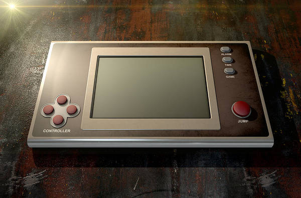 Controller Digital Art - Vintage Handheld Video Game by Allan Swart