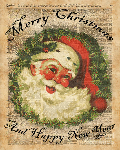 Wall Art - Digital Art - Vintage Happy Santa Christmas Greetings Festive Holidays Decor New Year Card by Anna W