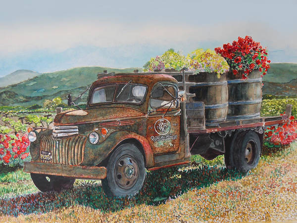 Napa Wall Art - Painting - Vintage Harvest by Gail Chandler