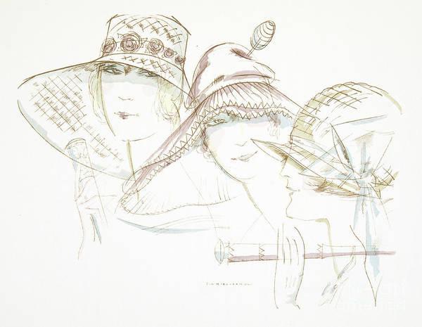 1920s Drawing - Vintage Hat Designs From The Twenties by German School