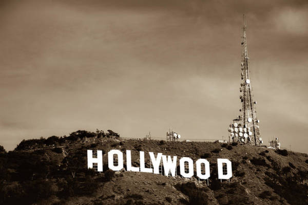 Photograph - Vintage Hollywood California Sign - Los Angeles - Sepia Edition by Gregory Ballos
