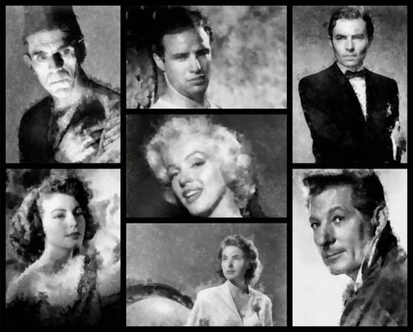 Wall Art - Painting - Vintage Hollywood Stars by John Springfield