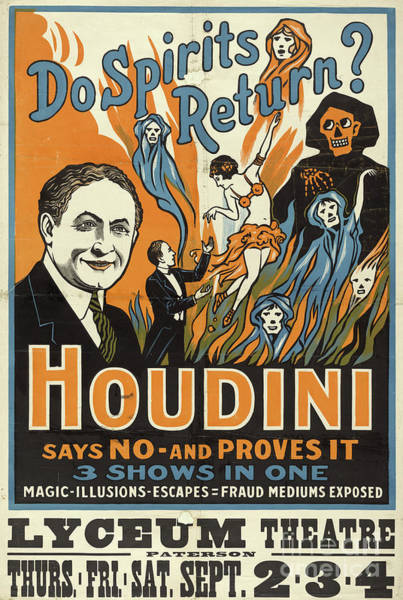 Wall Art - Painting - Vintage Houdini Show Poster Circa 1909  by American School