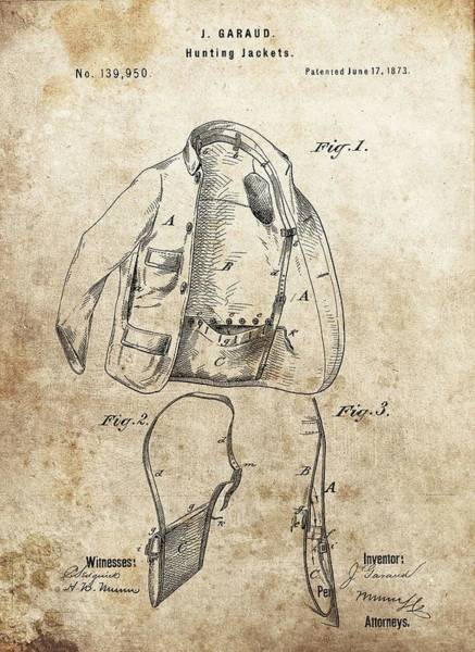 Duck Hunting Drawing - Vintage Hunting Jacket Patent by Dan Sproul