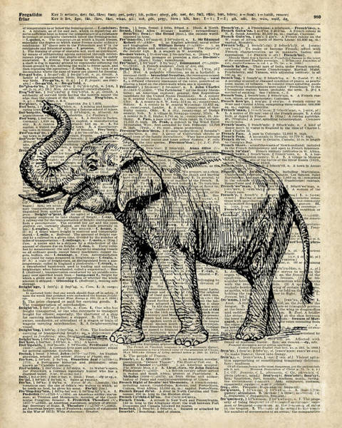 Wall Art - Digital Art - Vintage Illustration Of Happy Elephant Over Old Dictionary Book Page  by Anna W