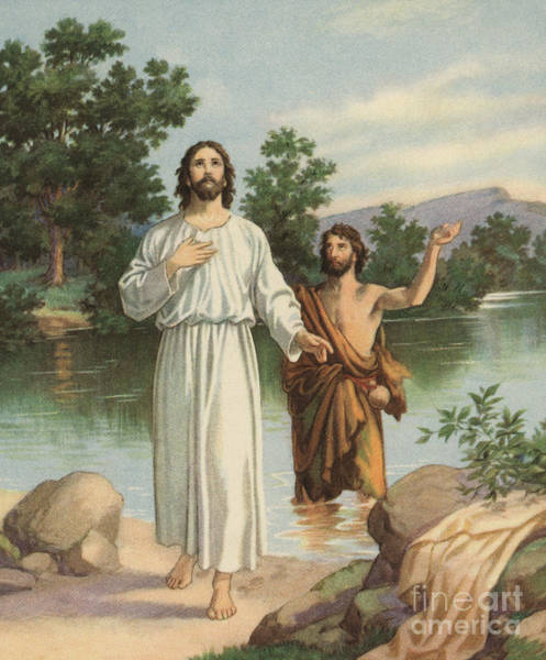 Wall Art - Painting - Vintage Illustration Of The Baptism Of Christ by American School