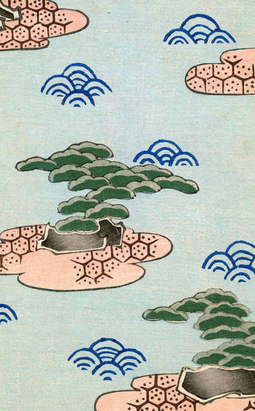 Woodblock Painting - Vintage Illustration Of Trees On Islands In A Lake by Japanese School