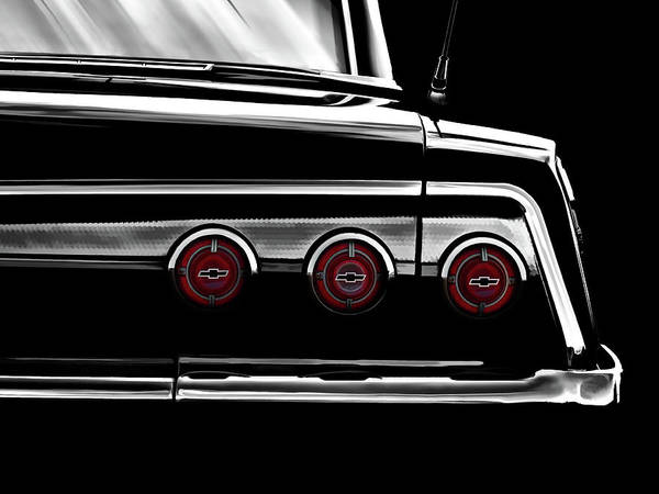 Chevrolet Digital Art - Vintage Impala Black And White by Douglas Pittman