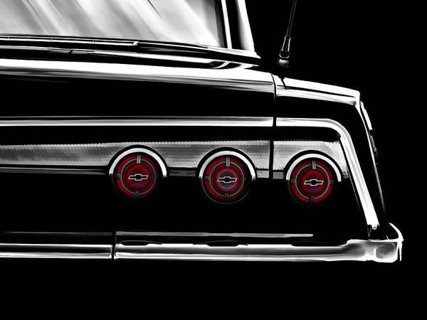 Wall Art - Digital Art - Vintage Impala Black And White by Douglas Pittman