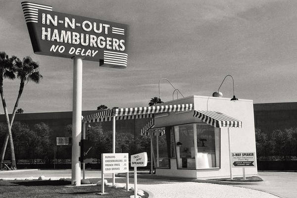 Stand Out Wall Art - Photograph - Vintage In-n-out Burger Stand, Black And White Photography  by Andy Moine