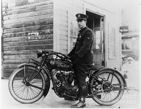 Victory Motorcycle Photograph - Vintage Indian Police Motorcycle by Jon Neidert