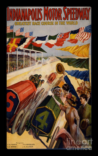 Wall Art - Painting - Vintage Indianapolis Motor Speedway Poster by Edward Fielding