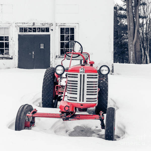 Photograph - Vintage International Harvester Antique Tractor In The Snow by Edward Fielding