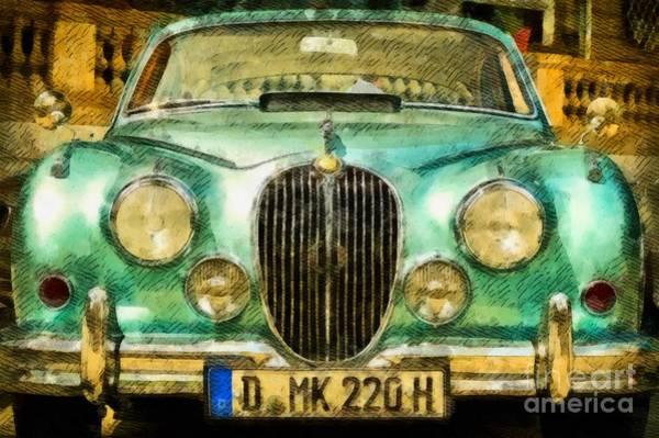 Maserati Painting - Vintage Jaguar Pop Art by John Springfield